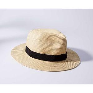 Loft Tan Packable Straw Fedora Hat - Plaid Bandage